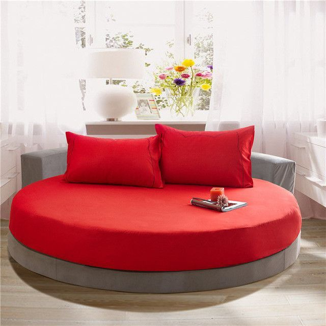 Solid Color 100 Cotton Round Fitted Sheet Set Round Bed Sheet