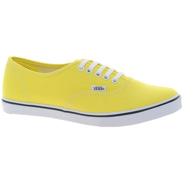 Vans Authentic Lo Pro Yellow Sneakers ($24) ❤ liked on Polyvore featuring shoes, sneakers, vans, yellow, yellow shoes, vans shoes, vans trainers, yellow trainers and vans sneakers