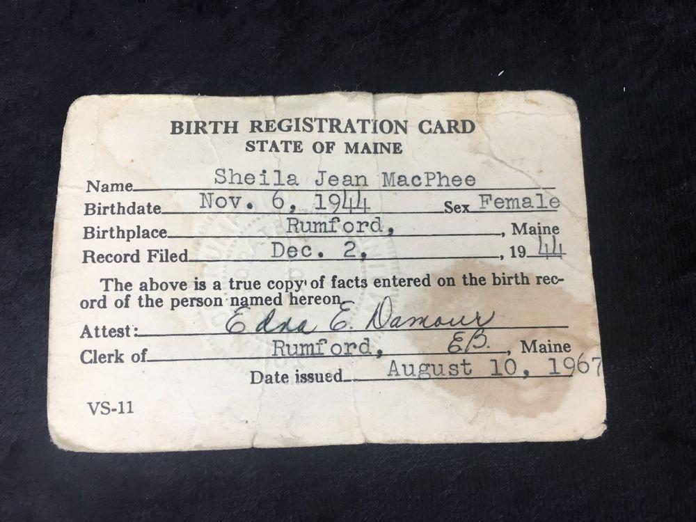 1967 Birth Registration Card State Of Maine Cards Registration
