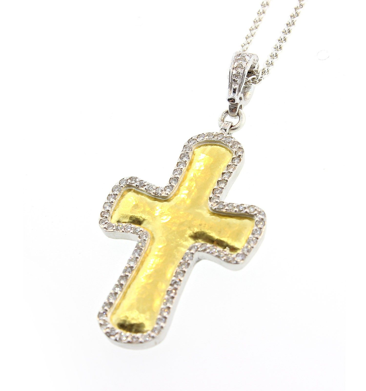 GURHAN Gold Cross Necklace Sterling Silver 24K Gold and White