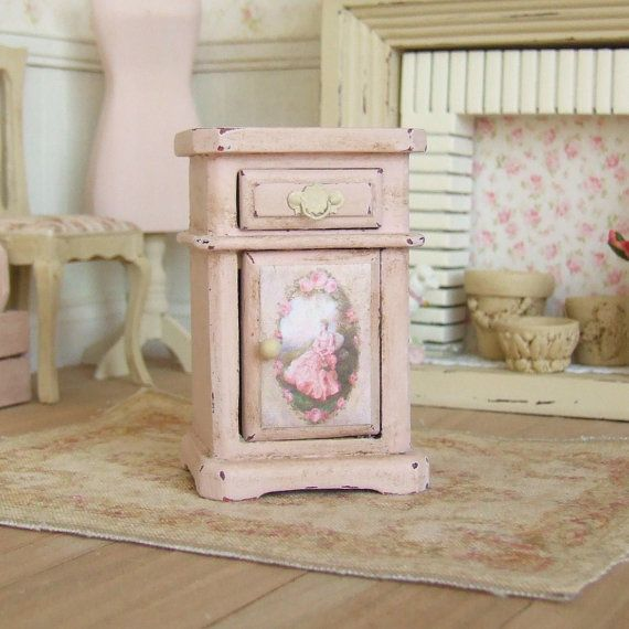 Dollhouse Miniature Pink Bedside Table Night Stand Bedroom
