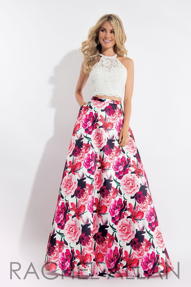 126d7998c20 New trendy prom dresses 2018 for spring season.This ready to go outfit has  laced top along with floral skirt by RACHEL ALLAN  promDress  RachelAllan