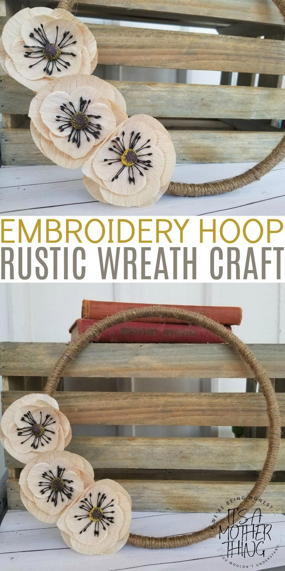 Embroidery hoop rustic twine wreath simple and elegant country craft homedecor also rh pinterest