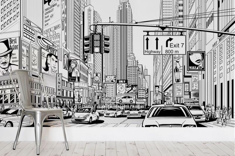 Black White New York Wallpaper Illustrated Design Muralswallpaper Nyc Murals City Cartoon New York Wallpaper