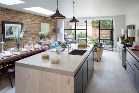 Exceptionnel Open Plan Kitchen Diner Extension With Exposed Brickwork In London Home  England UK
