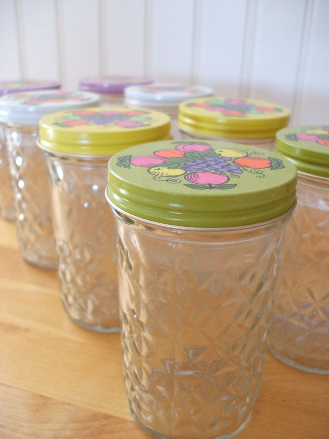 Eight Vintage Ball Quilted Crystal Mason Jelly Jars Fruit Lid
