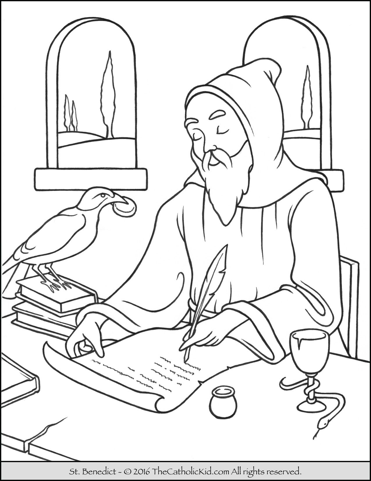 Saint Benedict Coloring Page The Catholic Kid Catholic Saints
