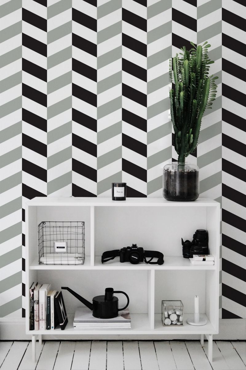 Herringbone Black And White Wall Mural Olive Shades Of Grey Wall Decoration Peel And Stick Moder Herringbone Wallpaper Herringbone Wall Wallpaper Walls Decor