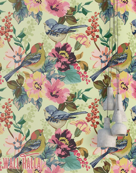 Birds In Tree Wallpaper Removable Wallpaper Flowers And Birds Wallpaper Sparrow Print Vintage Self Adhesive Peel And Stick Wallpaper In 2020 Bird Wallpaper Tree Wallpaper Wallpaper