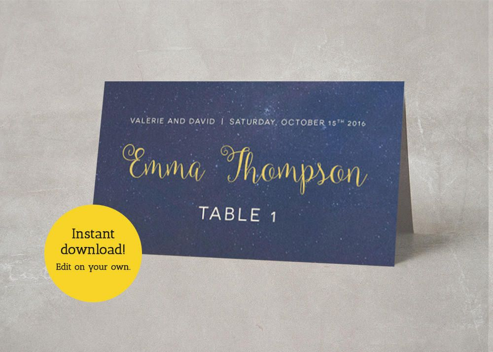 editable place card template navy and gold wedding name