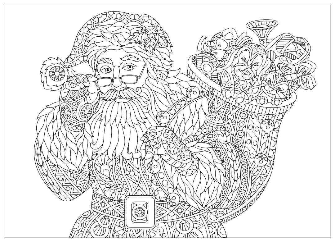 santa coloring page for adults