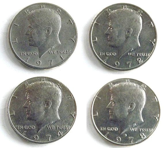 The Kennedy Collection 1971 1972 1974 1978 D Jfk 4 Silver Half Dollar Coins By Dontuwantme Coins Worth Money Old Coins Coin Worth
