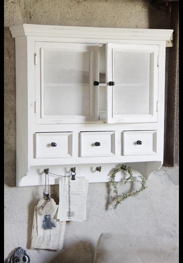 Traumhaft Schöner Küchenschrank Im Französischen Stil! Hergestellt Aus  Mangoholz Mit Weißen Gittertüren, Drei Schubläden Und Vier Haken. Farbe:u2026