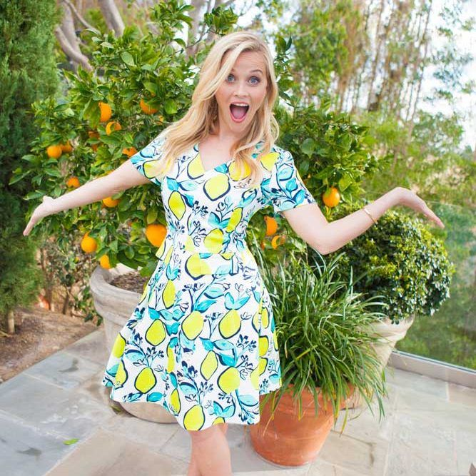 Lemons at last! Reese, wearing our Lemon Orchard Love Circle Dress, backstage at our shoot for O, The Oprah Magazine. The highly anticipated style is finally in our warehouse and available for sale.