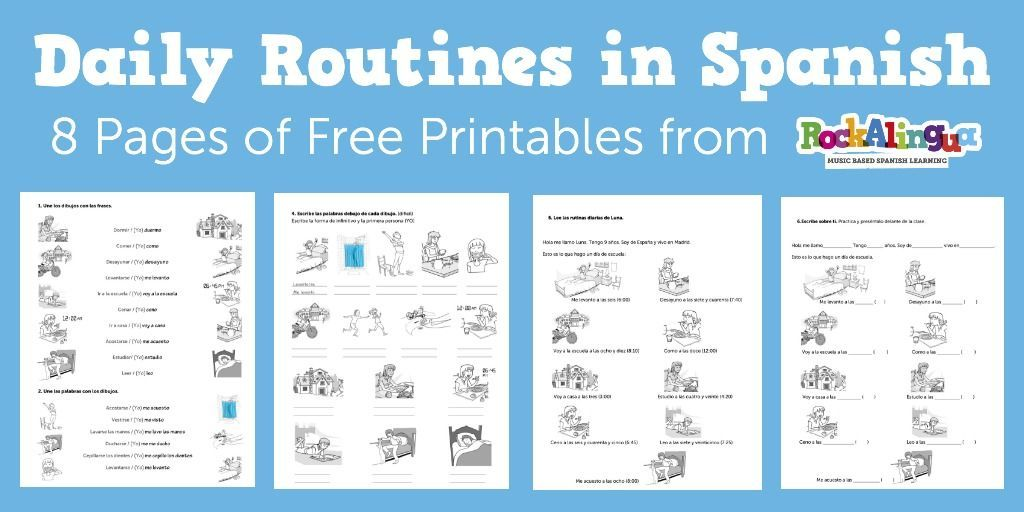 8 Pages Of Printable Spanish Worksheets To Practice Verbs And