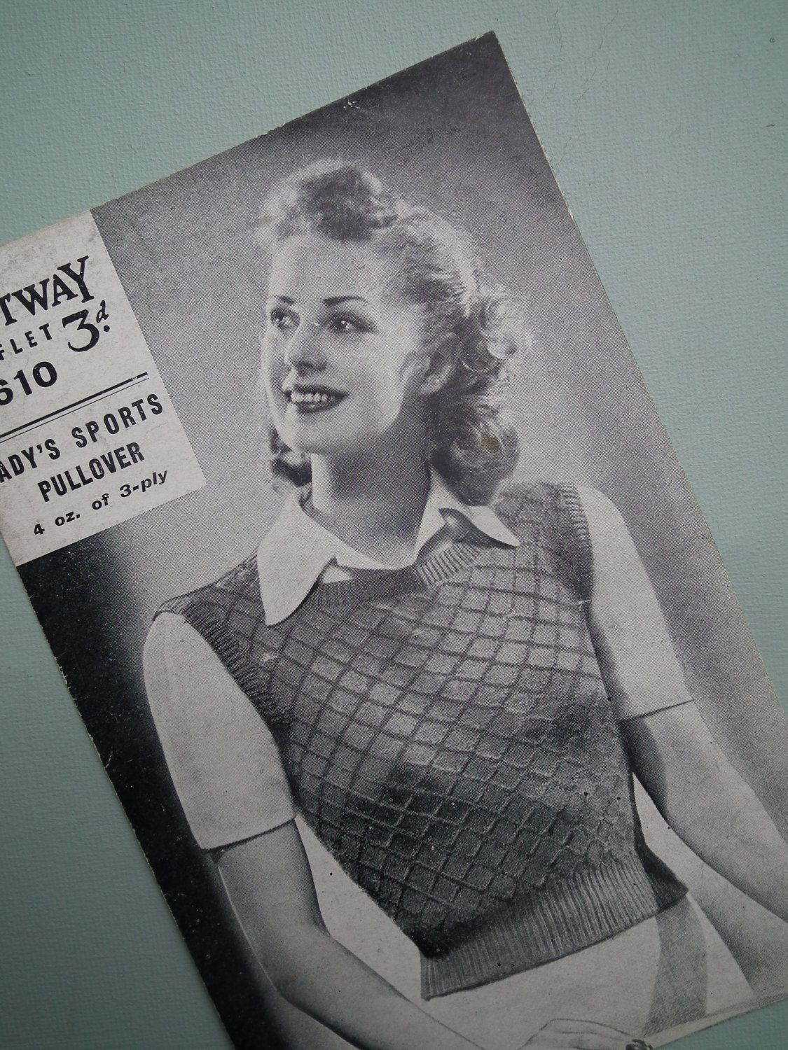 9e7ba97b659a62 Vintage 1940s Knitting Pattern Womens Pullover Vest Slipover Sports ...