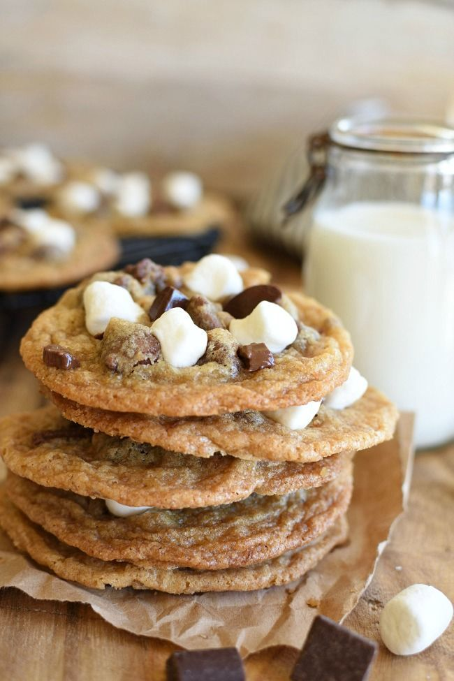 Smores Cookies Smores Cookies have grahams cracker crumbs chocolate chunks and gooey marshmallows Easy dessert recipe