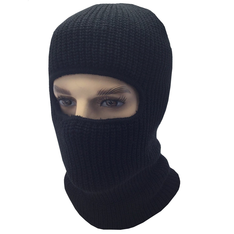 36d9bcedb87 Mens Black Knit Thermal Face Ski Mask - 1 Hole - CW12O1848AP - Hats   Caps