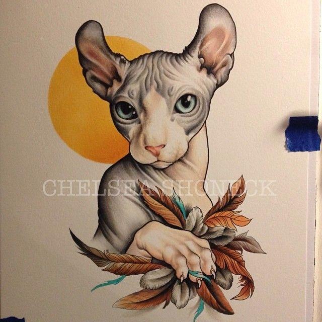 Chelsea Shoneck Sphynx Cat Tattoo Cat Tattoo Cat Art