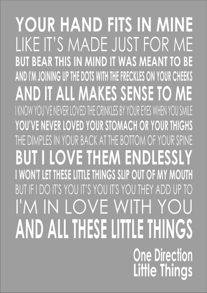 One Direction - Little Things - Word Typography Words Song Lyric ...