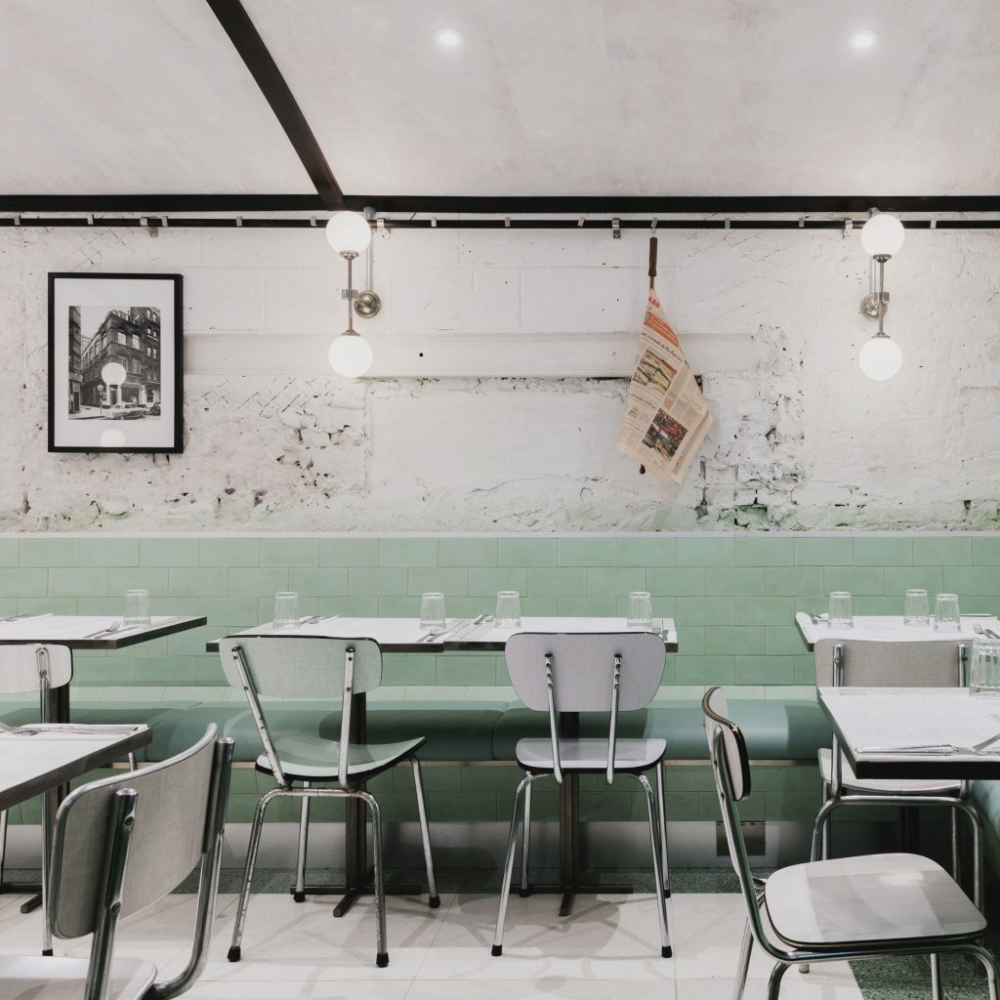 The Pastel Green And White Striped Interiors Of This Italian Restaurant By Red Deer Pay Homage To Sister Business In 2020 Cafe Interior Restaurant Concept Green Cafe