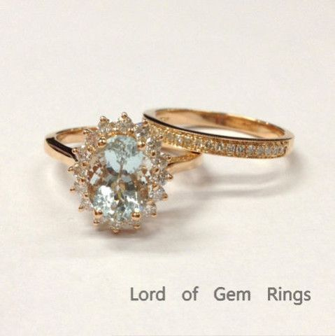 7x9mm Oval Aquamarine Wedding Ring Sets VS Diamonds Wedding Band