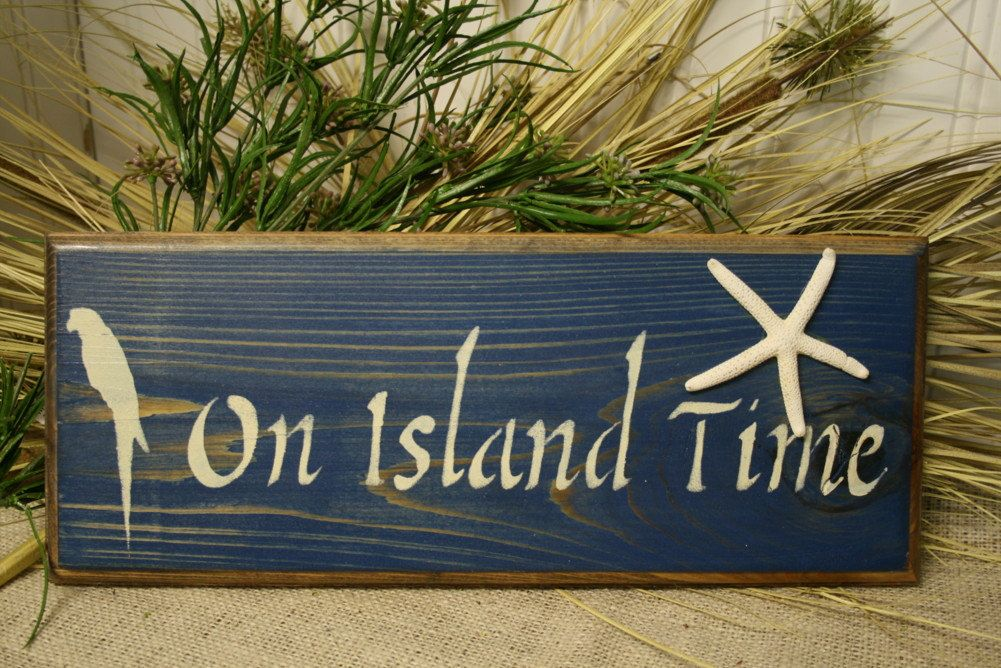 Tropical Sign - On Island Time Wooden Sign - Tropical ...