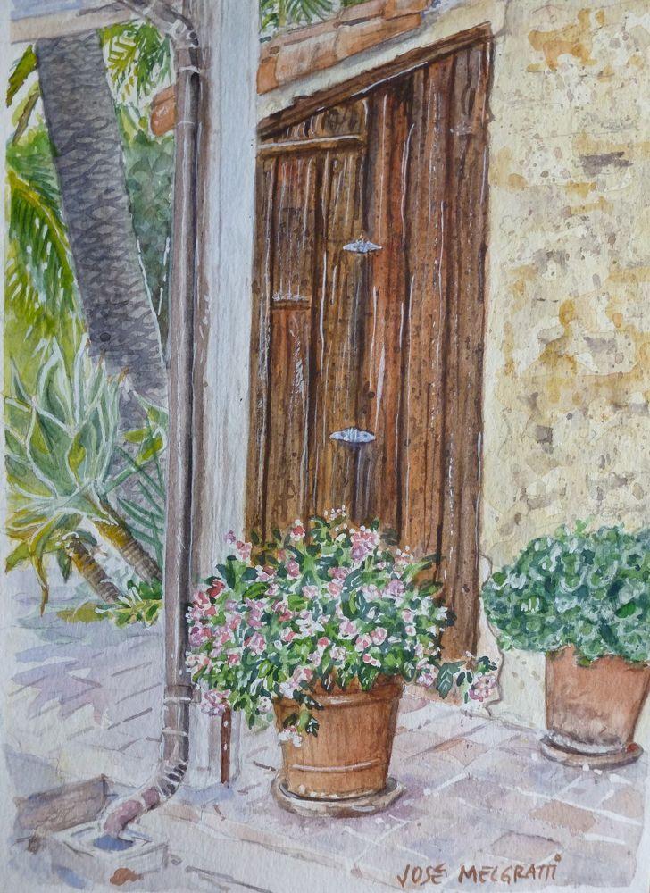 Santa Barbara Rústica, Watercolor Painting Original art Small Artwork #Realism