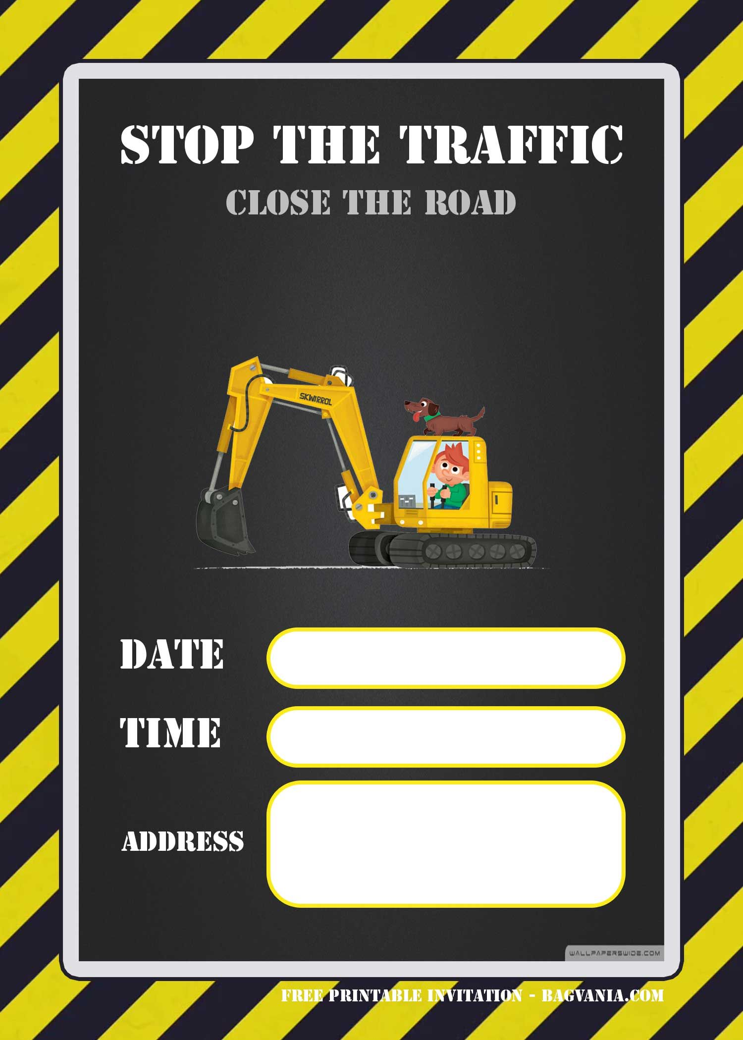 FREE Printable Construction Invitation