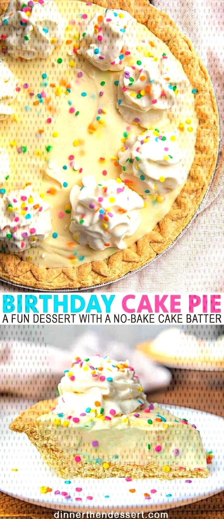 Birthday Cake Pie is a fun dessert with a no-bake cake batter flavored pudding filling in a classic