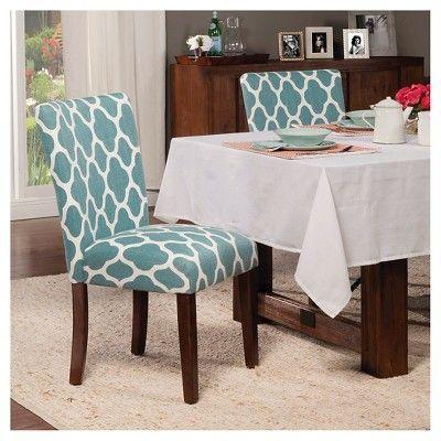 Parson Dining Chair Wood/Teal Geo (Set of 2) - HomePop ...