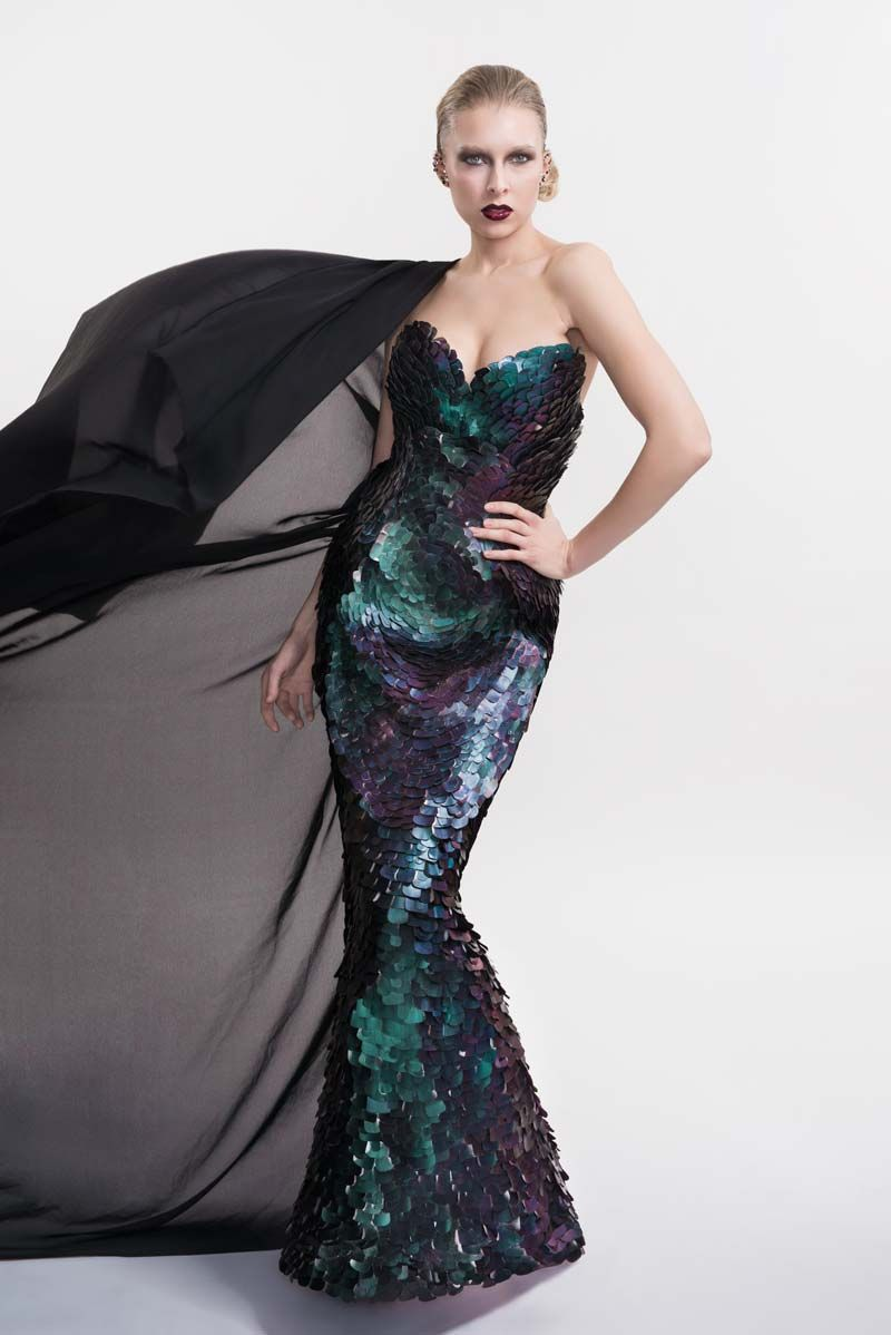 Evening dress by Outi Pyy. Picture: Kanerva Mantila.