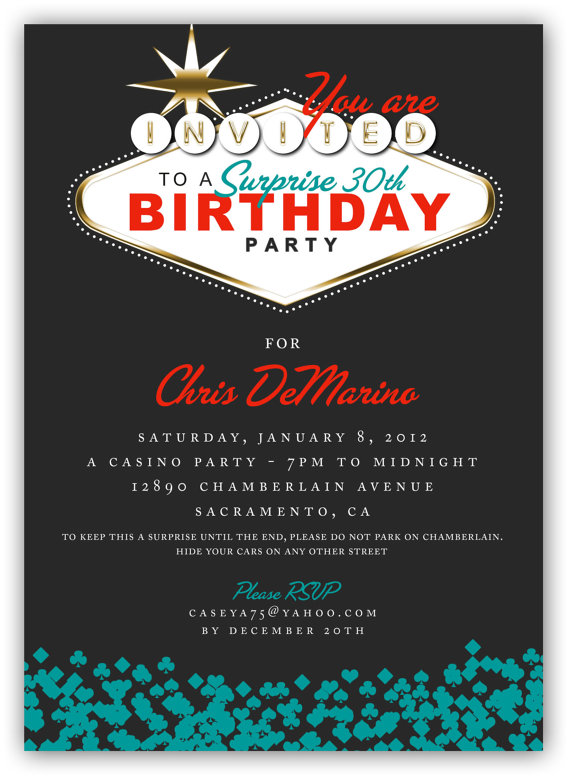 Fabulous Las Vegas Themed Party Invitation X Or X Digital