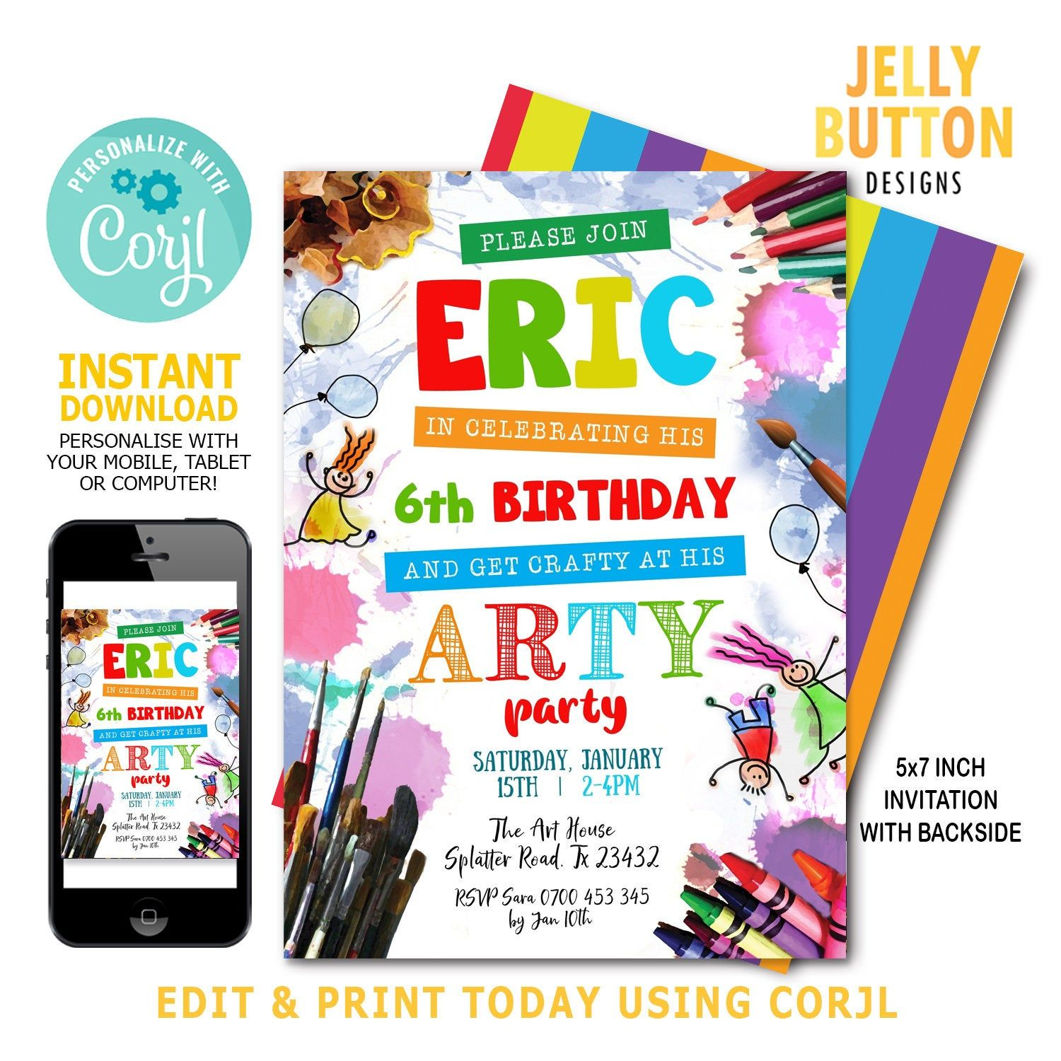 16+ Arts and crafts birthday party invitations ideas in 2021