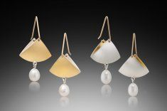 Pearl Fan Drops - Hand fabricated 22k/SS bi-metal with freshwater pearls)