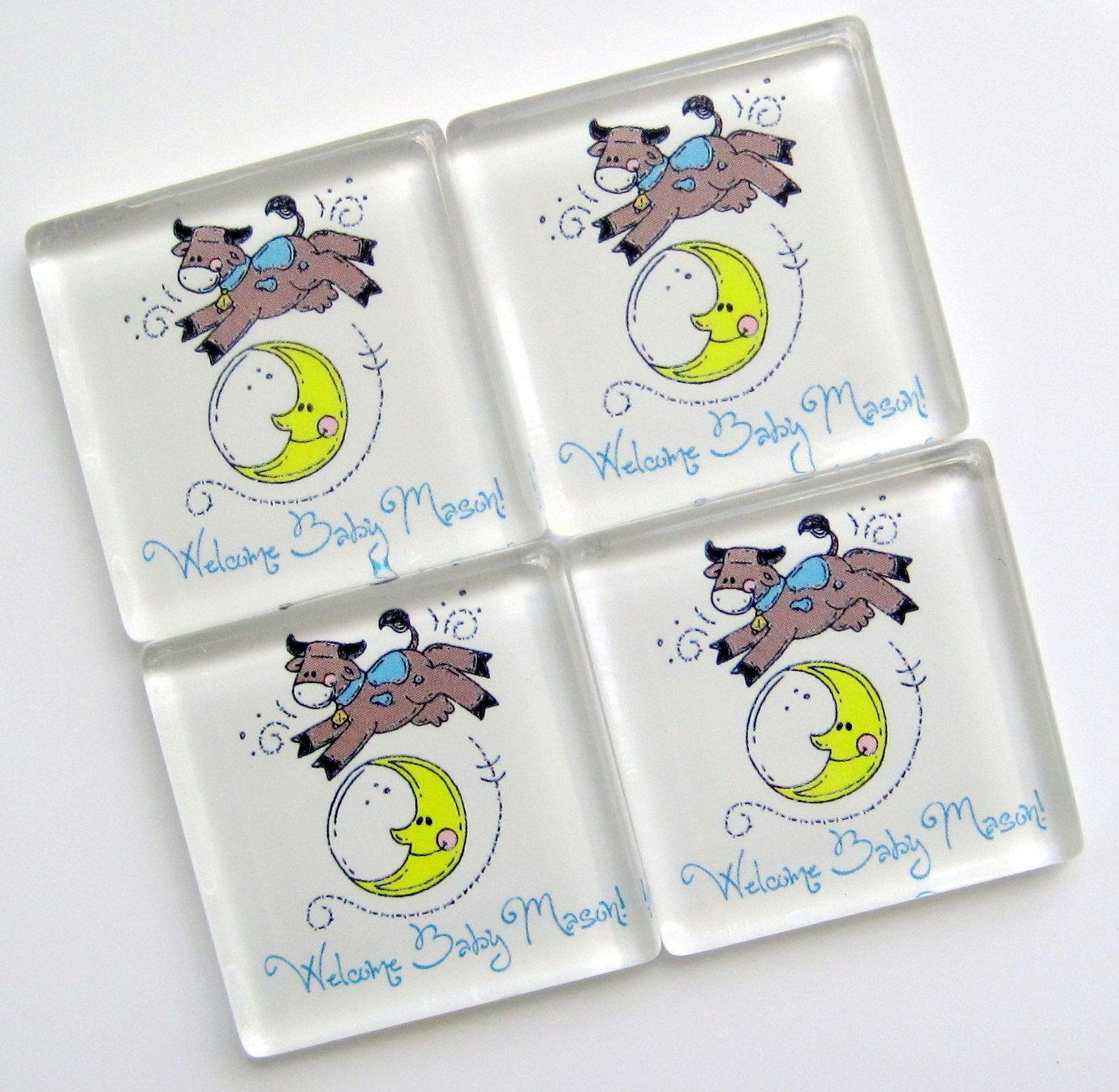 Baby shower favors the cow jumped over the moon 1 3 8 inch glass