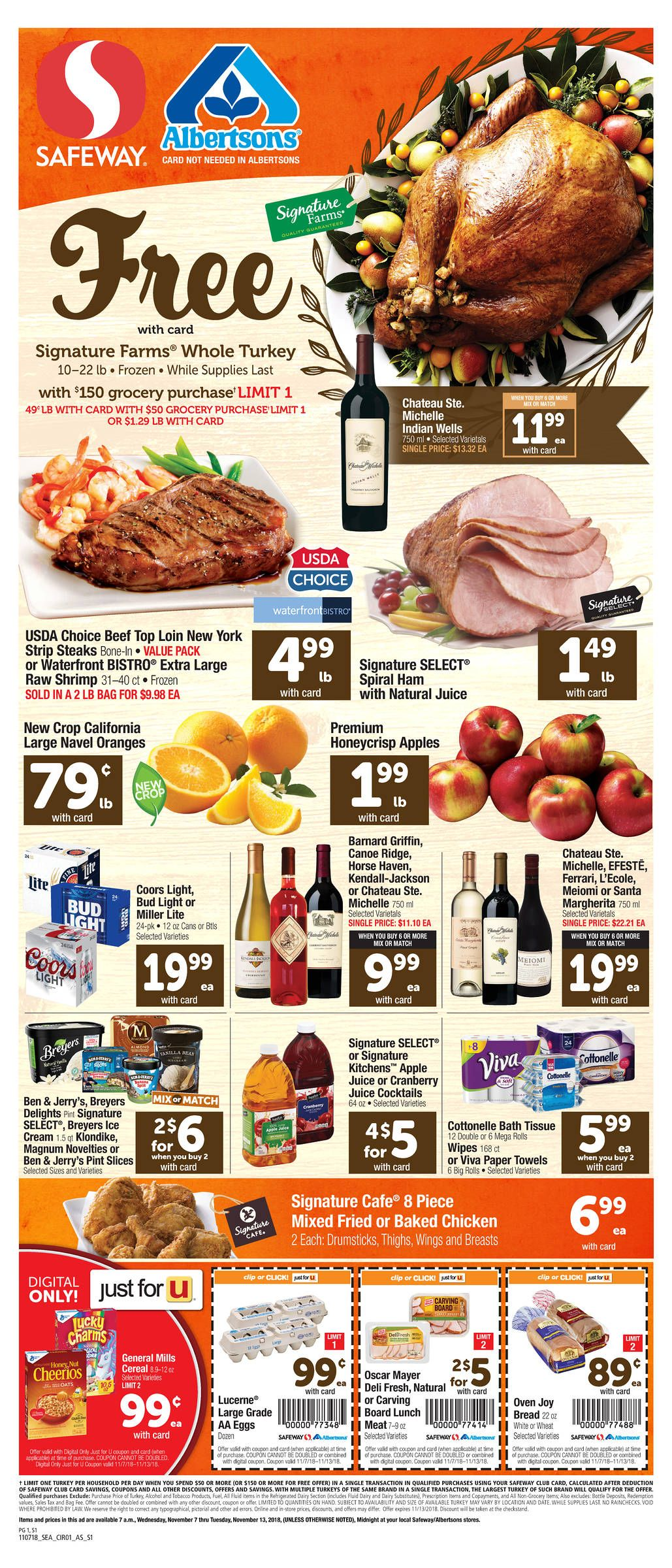 Free turkey at albertsons safeway with a 100 grocery