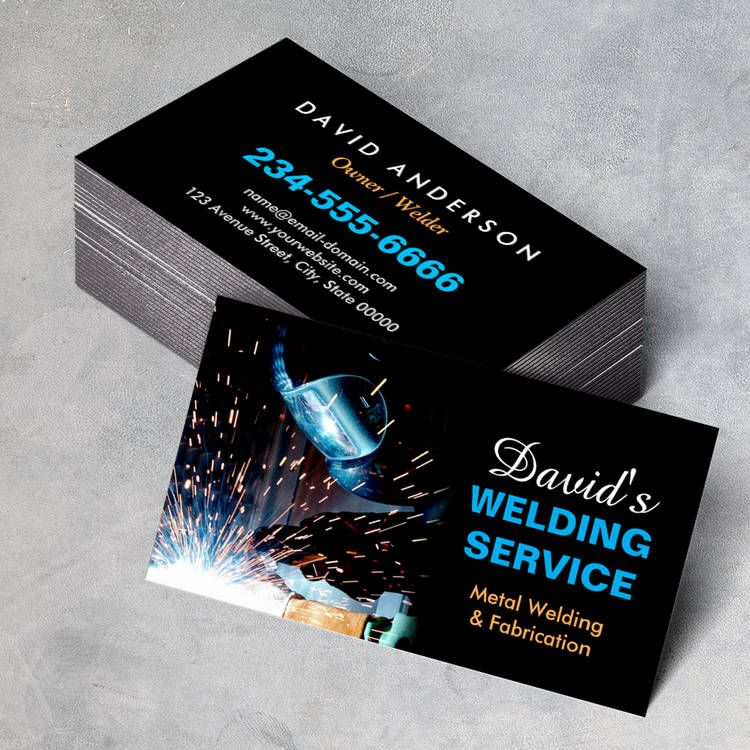 Professional metal welding fabrication contractor business for Welder business cards
