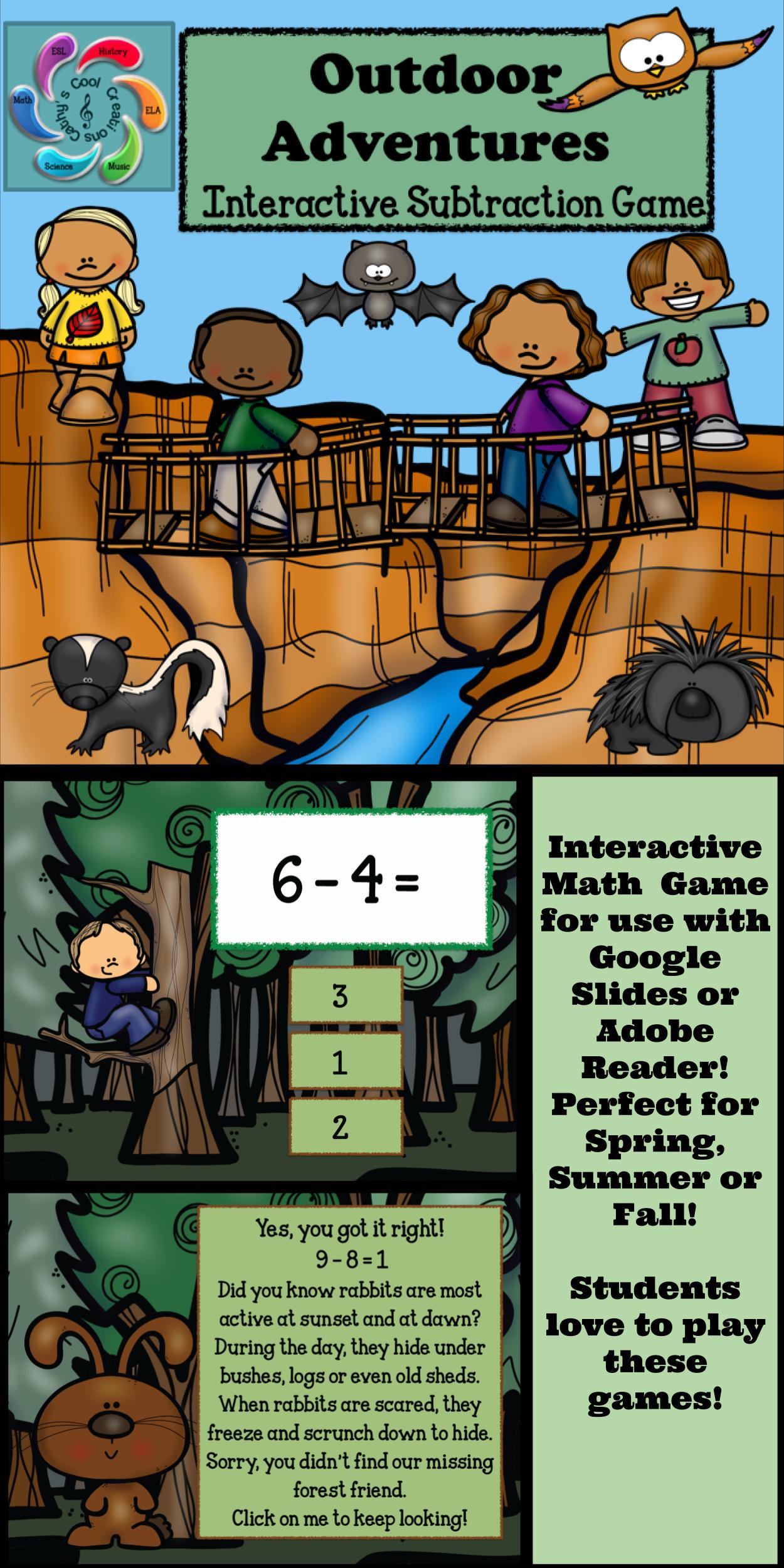 Interactive Math Game Subtraction Google Slides/PDF
