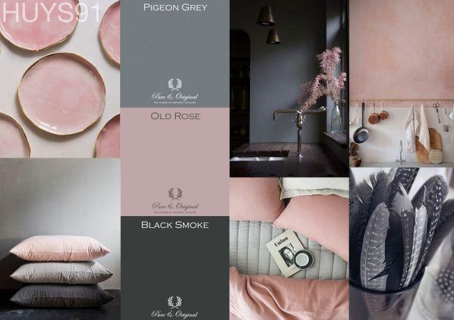 Slaapkamer Grijs Roze : Pure original an hare muur grijs roze en