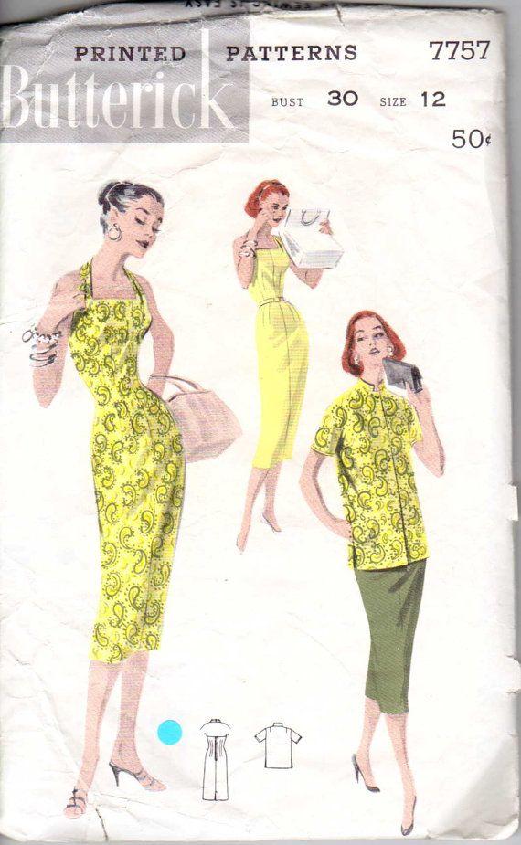 50\'s Fitted Sheath Halter Strap Mandarin Collar Jacket Dress Size 12 ...
