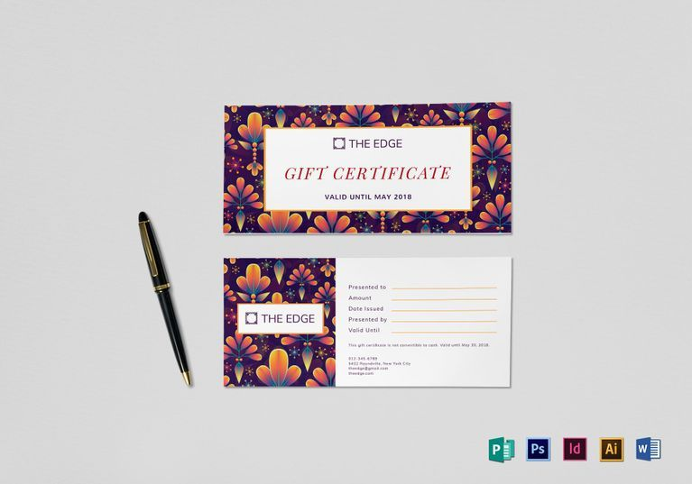 How To Word A Gift Certificate Gift Certificate Template $12 Formats Included  Indesign .