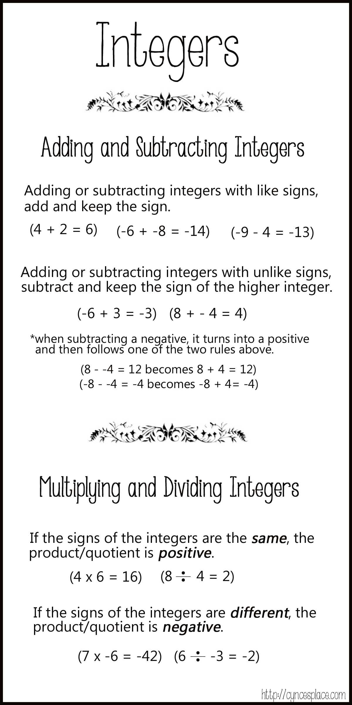 Worksheets Adding And Subtracting Integers Rules adding subtracting multiplying and dividing integers chart 3 1200 1200