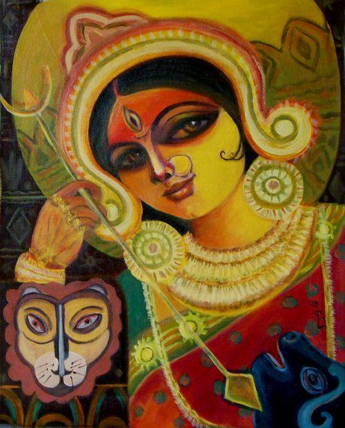 Durga Maa Handpainted Art Painting 18in X 24in Border