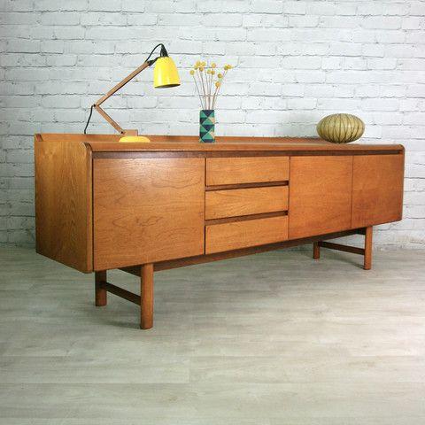 Vintage 1960s White Newton Teak Sideboard Teak Sideboard