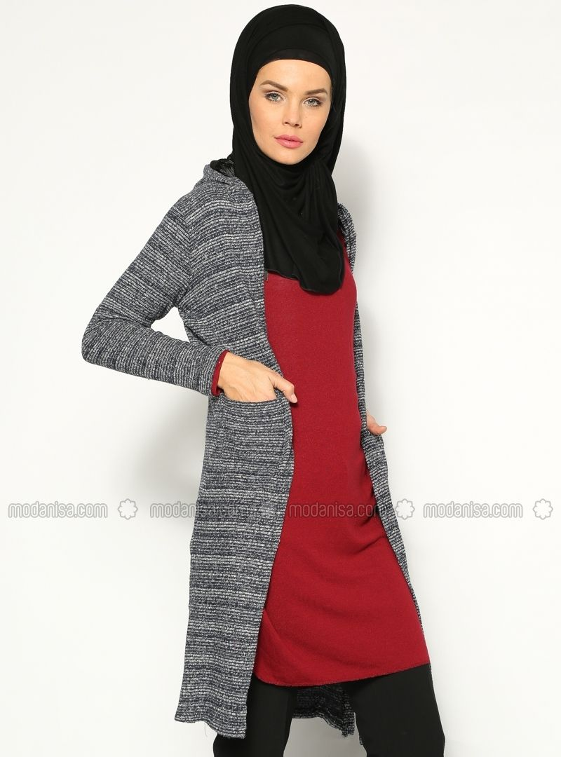 Hooded Cardigan - Navy Blue - Stilim
