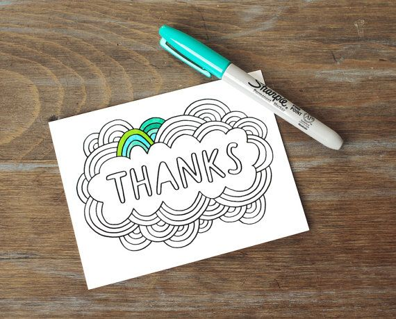 Greeting Card // Thanks, Color Your Own, DIY Thank You Card, Hand ...