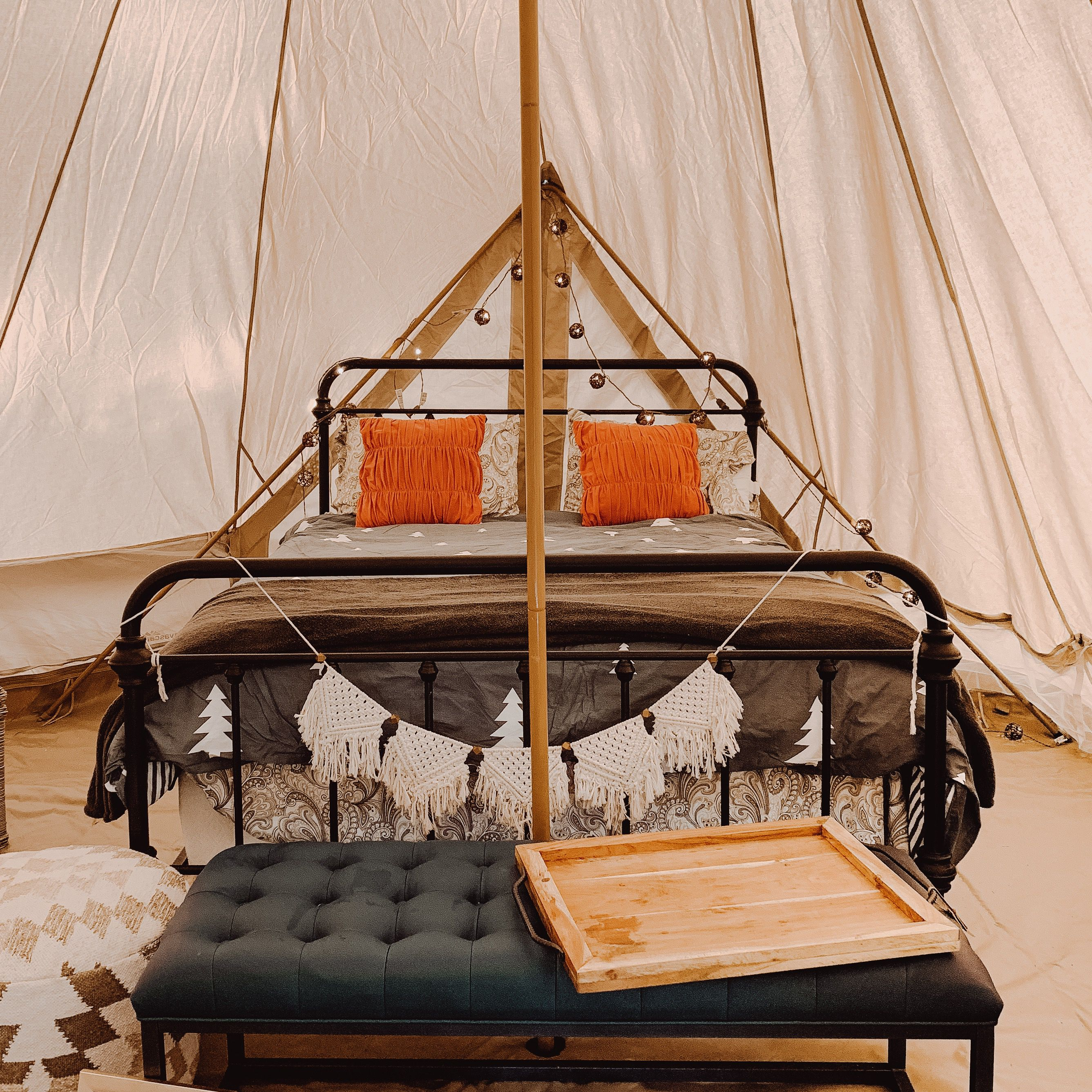 A Look Inside One Of The Deluxe Bell Tents Here At