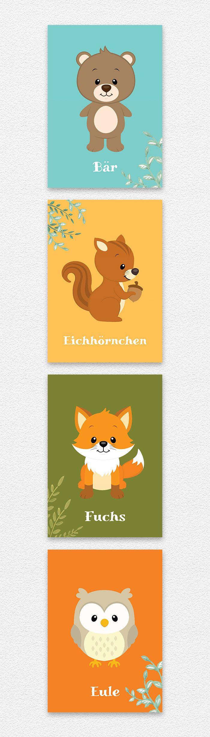 Details zu Buntes Wald Tiere Bild Set A4 Bär Eichhörnchen Eule Fuchs ...