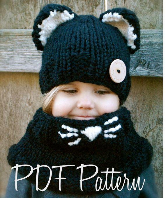 38a3f0ea56e Knitting PATTERNThe Caitlynn Cat Set Toddler by Thevelvetacorn